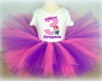 Little Mermaid Birthday Tutu Outfit - Pink and Purple