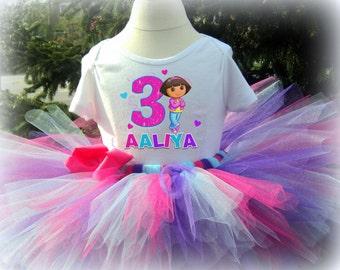 Dora Birthday Tutu Outfit  - With Tutu Bow