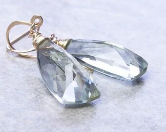 Green Amethyst Earrings, Prasiolite Earrings. Goldfill Drop Earrings. Pyramid. Goldfill Earrings