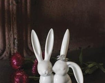 SALE Kissing bunnies ring holder love engagement rabbits bunny