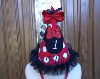 Minnie Mouse Girls Birthday Party Hat - Minnie  Mouse Hat