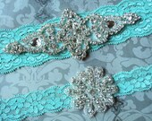 SALE! Wedding Garter Set - Something Blue Bridal Garter - Aqua Lace Garter with Rhinestone Applique - Garter Toss
