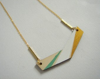 Chevron Necklace, Wood Geometric Necklace,Wood  Necklace,Geometric Jewelry