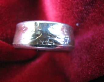 COIN RING made from a 1944 Walking Liberty Half Dollar, A NEW unsized Mens / Mans ring 72 year old American 90% silver coin