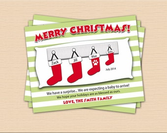Christmas Pregnancy Announcement - Family Stockings (8 Cards and 8 Envelopes)