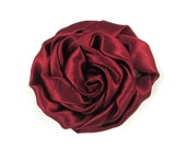 "Wine - Set of 3 Large 3"" Rolled Satin Flowers - RSF-001"