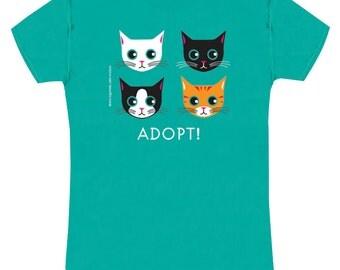 Adopt Cat on Jade Green Slim Fit Ladies Cat Tee Shirt ON SALE!