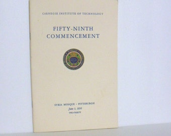 CMU University Carnegie Institute Of Technology 59th Commencement Program 1956