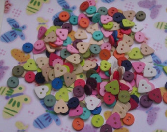 Colorfull buttons as hearts or small circles, several colors