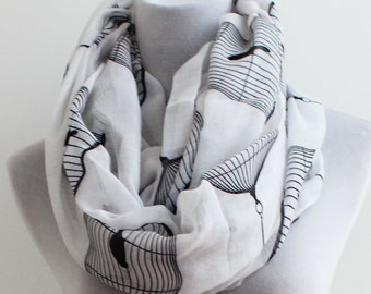 White Bird Cage Infinity Scarf, Loop Scarf, Christmas Gift, For Her, For Women, Mothers Day Gift, Womens Scarves, Fashion Scarves, For Mom