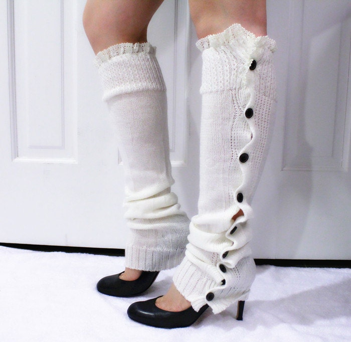 White Lace Leg Warmers Knitted Leg Warmers With Lace And