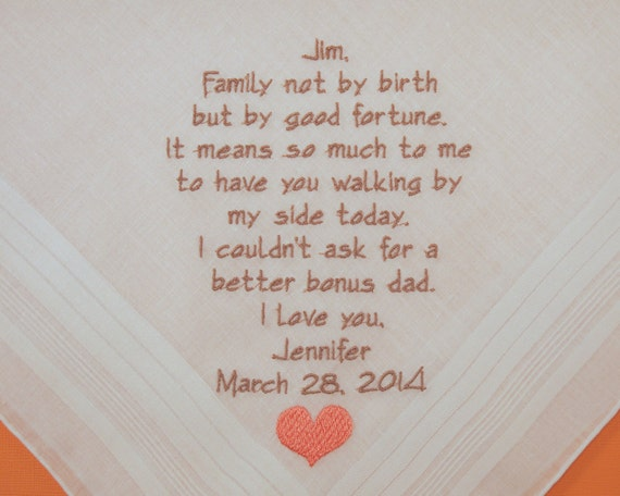 Wedding Gift For Step Dad : Step Father of the Bride Saying Personalized Wedding Hankerchiefs ...
