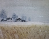 Winter Wheat-Watercolor Painting-ORIGINAL-not a print-5x7