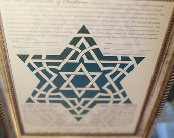 FRAMED Canvas Ketubah-Abstract Star of David