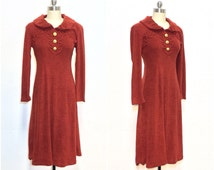 60's vintage / brown terrycloth / boho dress / gold buttons / folk / hippie