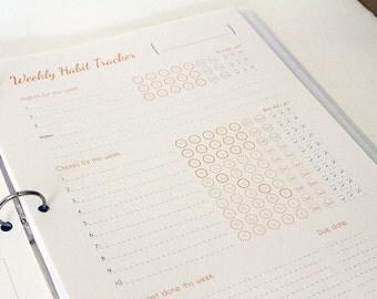 Habit & Goal Printable Tracker, Planner, and Calendar/ Printable Organizer/ Habit Tracker/ Custom Calendar Journal/ Printable Goal Organizer