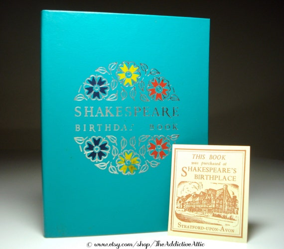 Shakespeare Birthday & Address Book With Quotes Vintage