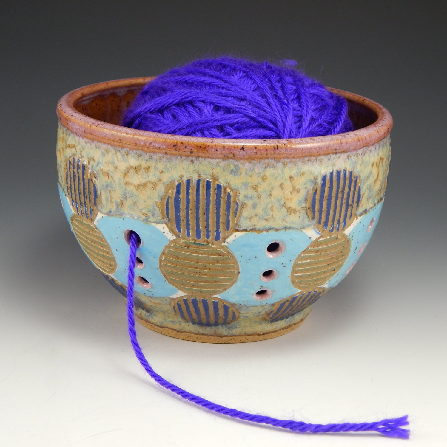 ceramic yarn bowl knitting bowl crochet bowl by firenfluxhandmade