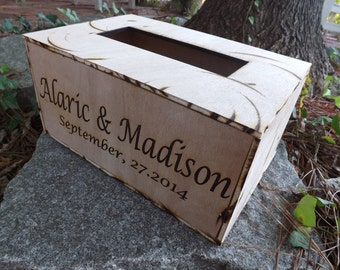 Engraved Rustic Wood Card Box, Wedding, Quinceanera, Baptism Cards Box, Box of Cards, Envelopes Cards, Gift Cards Box, Handmade