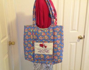Nurses Tote Blue Bag (Owl Print)