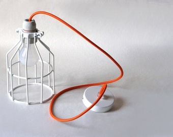 Industrial Lighting, wire Cage,Orange cloth cord