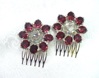Vintage Cranberry Red RHINESTONE Art Deco Hair Combs - silver pot metal - vintage WEDDING - Gatsby bridal- Aurora Borealis Crystal- ONE (1)