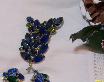 Lovely Vintage Rhinestone Brooch & Earring Set