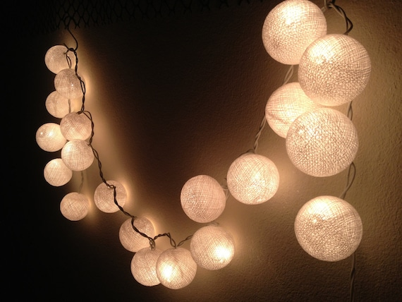 string lights white cotton ball by jaithepshop on etsy. Black Bedroom Furniture Sets. Home Design Ideas