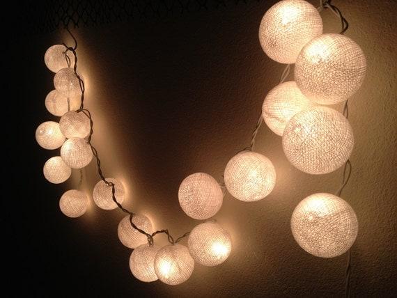 string lights white cotton ball by jaithepshop on etsy. Black Bedroom Furniture Sets. Home Design Ideas
