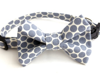 Grey and White Polka Dot Print Fabric Pet Collar and Bow Set
