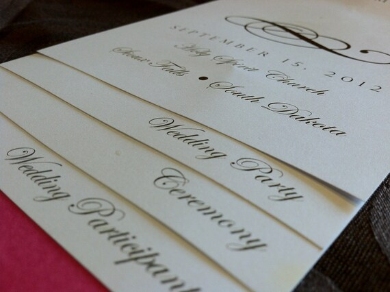 diy 6 page layered wedding program template scroll design