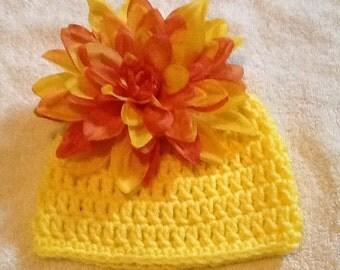 Newborn Bright Yellow Flower Baby Beanies