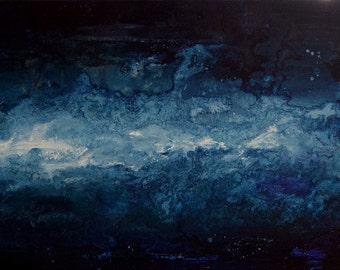 Tempest | ORIGINAL painting 12 x 24 | Stormy night