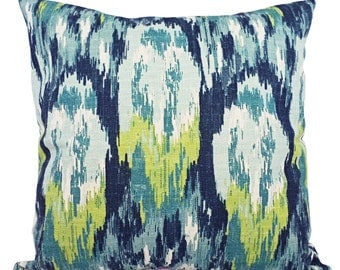 Throw Pillow Covers - Two Blue and Green Ikat Covers - Blue Pillow - Blue Ikat Pillow - Green Ikat Pillow - Ikat Pillow Covers
