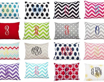 Monogrammed Pillow Cover - 12 x 16 Inch Monogram Lumbar Pillow - lumbar Pillow Cover - Monogrammed Lumbar Pillow - Monogrammed Pillow