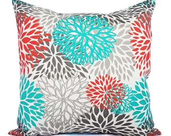 Indoor Outdoor Pillows - Two Turquoise and Orange Throw Pillow Covers - Couch Pillow Cover Turquoise Orange Grey Pillow
