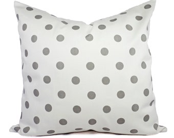 Two Decorative Throw Pillow Covers - Grey and White Polka Dot Print - Grey Cushion Cover Accent Pillow - White Pillow Cover