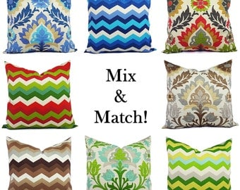 Decorative Pillow Covers - 20 x 20 Pillow Cover - Blue Pillow Cover - Brown Pillow Cover - Patio Pillow - Green Outdoor Pillow - Red Pillow