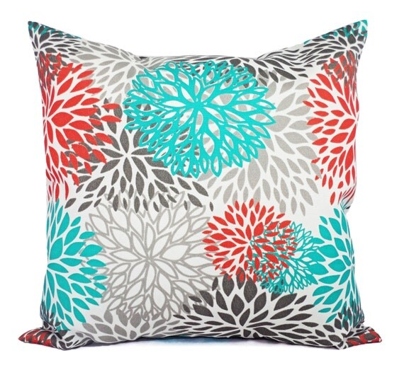 indoor outdoor pillows two turquoise and orange throw pillow. Black Bedroom Furniture Sets. Home Design Ideas