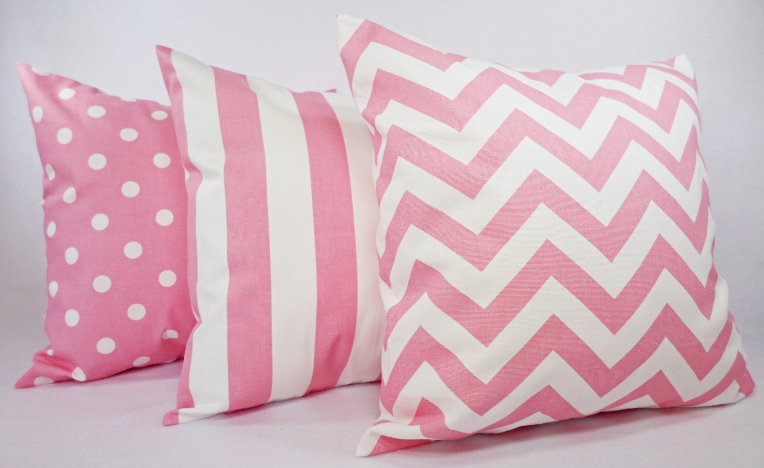 Three Decorative Throw Pillow Covers Baby Pink and White