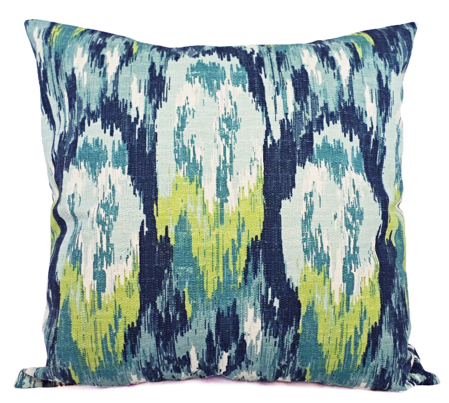 Throw Pillow Covers Two Blue And Green Ikat Covers Blue