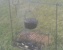 Campfire Iron Cookset, Iron Cooking Grill with Heavy Cook Rack/Tripod, Hand Wrought Iron, Civil/Rev War Pioneer Reenactors, Blacksmith Made