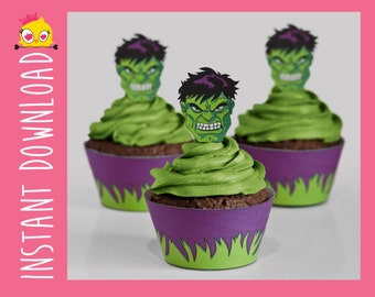 The Hulk Inspired Cupcake Wrappers & Toppers PDF