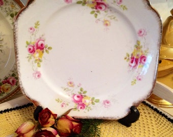 Pretty Vintage Cake Plate with tiny Pink Roses, Court China