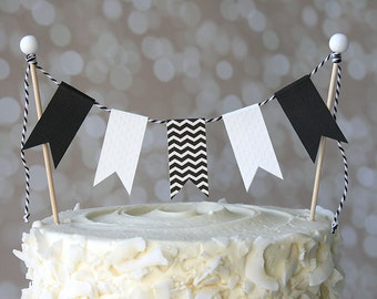 Black and White Chevron Birthday Cake Bunting Pennant Flag Cake Topper-MANY Colors to Choose From!  Birthday, Shower Cake Topper
