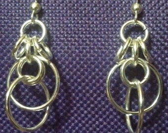 Sterling Silver Plated Tiered Earrings