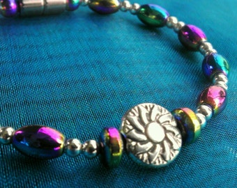 Colorful Rainbow Magnetic Bracelet with Silver Medallion