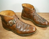 Vintage Eddie Bauer Biker Motorcycle Riding Harness Non-Steel Toe Brown Leather Men's Boots with Cush-N-Crepe Soles Size 8.5 Wide