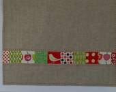 Reserved for Jo - linen tea towel with patchwork border