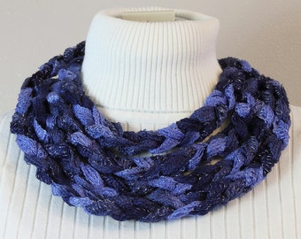 Chain Stitch Skinny Scarf in Blue